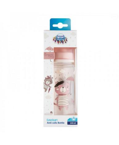Бутылочка Canpol пластиковая розовая 240мл