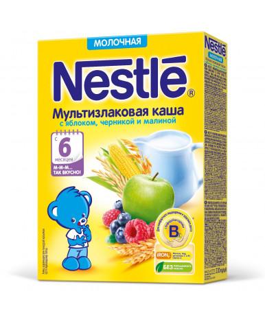 Каша Nestle мультизлаковая яблоко черника малина молочная дой-пак 220г