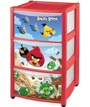 Комод Пластишка с аппликацией на колесах Angry Birds 3 ящика, красный