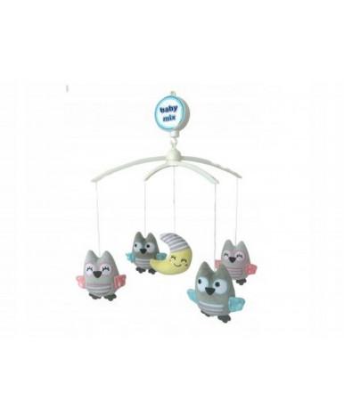 Каруселька BabyMix с плюшевыми игрушками, Совы и луна