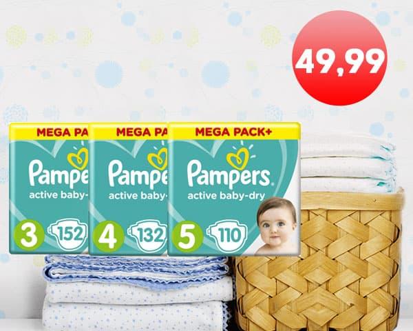 Подгузники Pampers Active Baby Mega Pack всего за 49,99р!