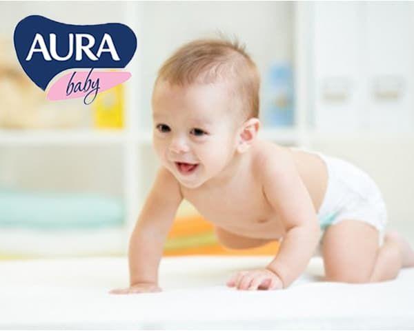 СКИДКА до 33%!  на детские одноразовые подгузники AURA